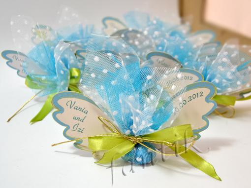 сватбени късметчета,подаръчета за гости,зелено и синьо